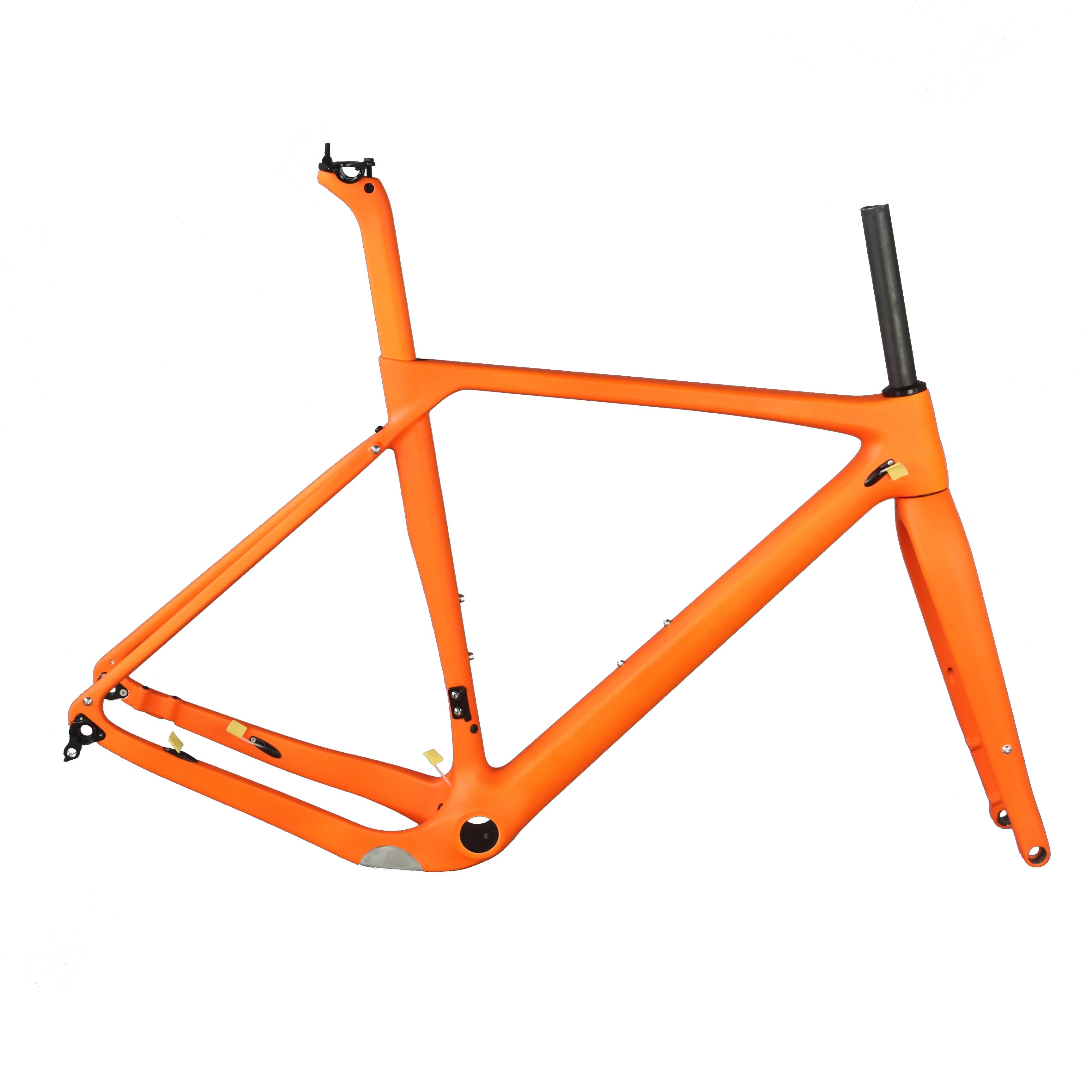Full Carbon Fiber Gravel Bike Frame GR030, Bike Gravel Bike Frame Factory Accept Custom Paint Orange Frame