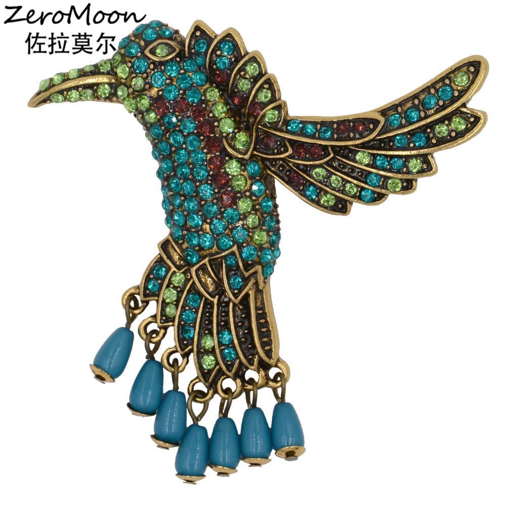 Colibri Antique Cristal Strass Broche Oiseau En Métal Balancent Larme Perle Animaux Broches Vintage Bijoux Accessoire De Mode 9962