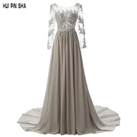 Free Shipping Fashion Long Sleeves Backless Crystal Sequins Applique Evening Dresses Hot Sale Women Elegant Prom