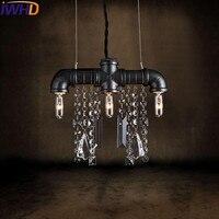 IWHD 3 головки железная винтажная лампа промышленные подвесные светильники Лофт Стилизация под водопроводную трубу Ретро подвесные светильн