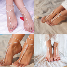 цены 1 PC Bridal Barefoot Sandals Simulated Pearl MultiLayer Anklet Wedding Beach Foot Jewelry Wholesale Jewelry