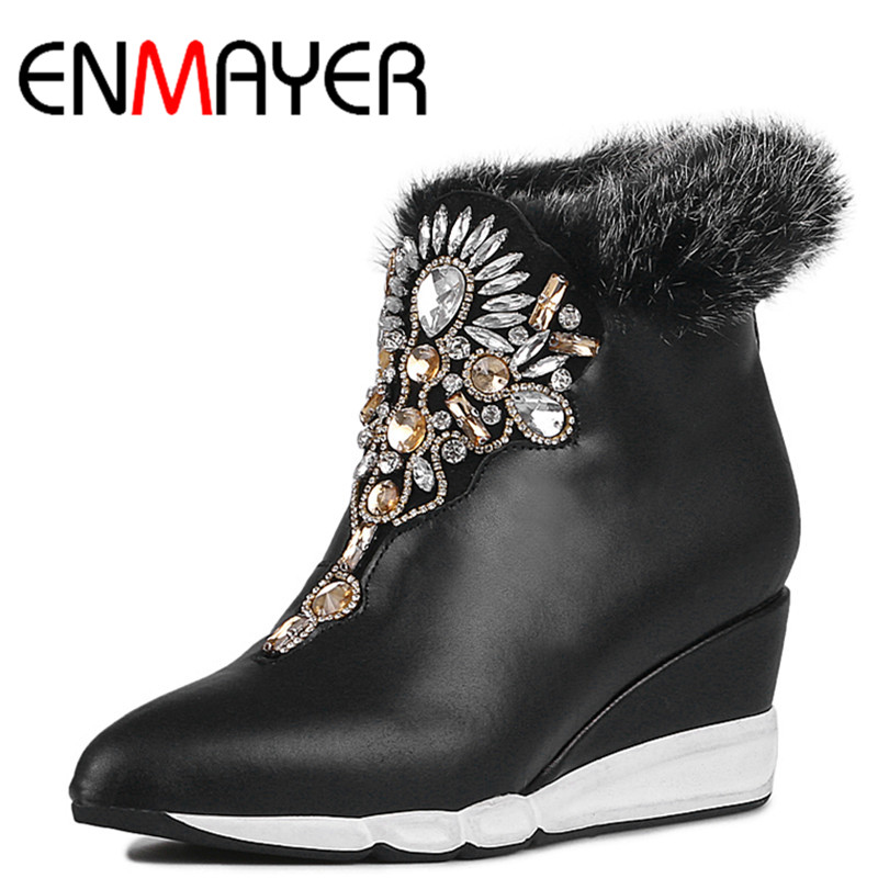 ФОТО ENMAYER Pointed Toe Ankle Boots for Women High Heels Wedges Shoes Woman Large Size 34-41 Classic Black Platform Shoes Zipeprs