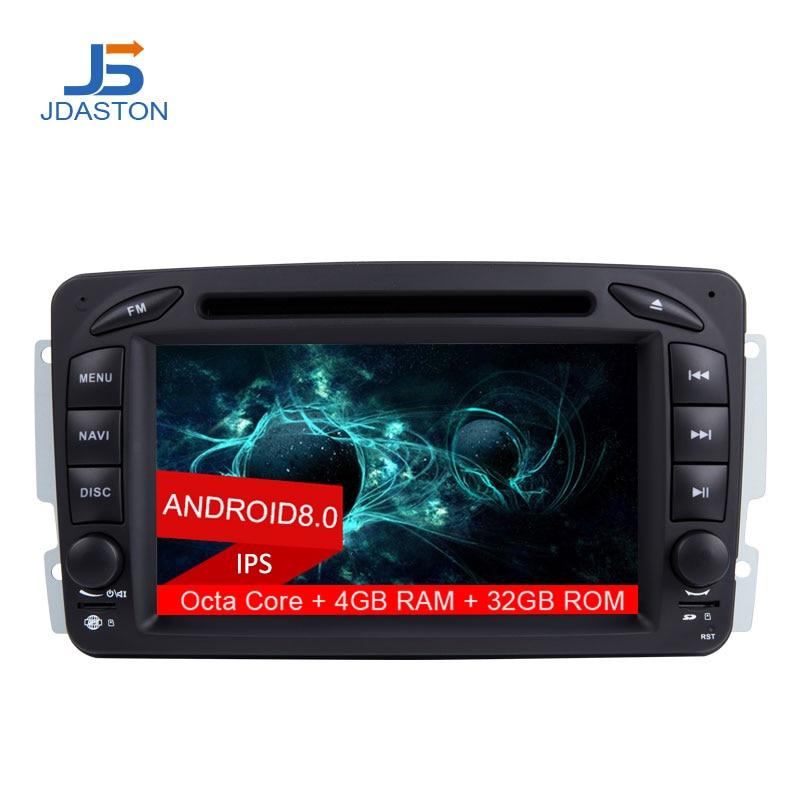 JDASTON 2 DIN ANDROID 8.0 Voiture Radio GPS Multimédia Lecteur DVD Pour Mercedes Benz CLK W209 W203 W168 W208 W463 vaneo Viano Vito