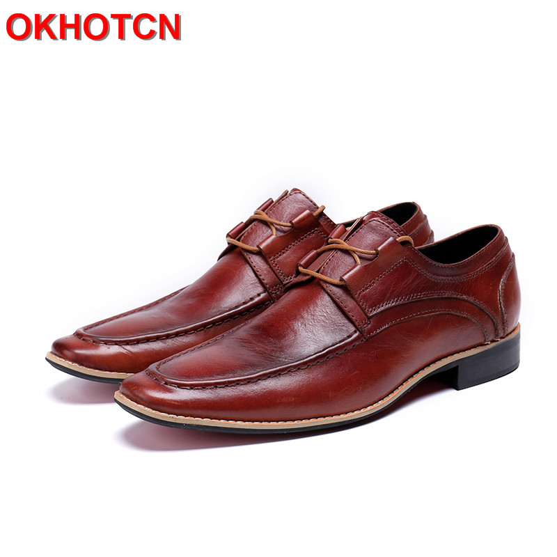 Red Men Dress Leather Shoes New Arrival Hadmade Men Shoes Italian Spring Autumn Men'S Formal Shoes Genuine Leather Mens Oxfords hot sale luxury brand men classic oxfords italian mens leather dress shoes new men formal shoes black white patch flowers 39 46