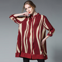 4XL women autumn chiffon blouses 2017 plus size european woman fashion brand long blouse&shirts extra large work brief shirts