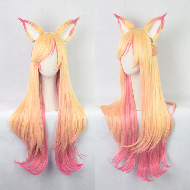 100 cm lol ahri gumiho 가발 스타 가디언 the nine tailed fox 코스프레 의상 가발 + 가발 모자 + 귀