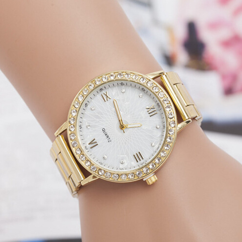 Women wrist watches montre homme new famous brand Full Steel dress wristwatch Gold Crystal Casual Quartz Watch Relogio Feminino 2017 women wrist watches quartz rhinestones luxury watch famous brand full steel dress wristwatch relogio feminino men clock hot
