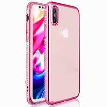 YISHANGOU Luxury Flash Rhinestone Diamond Soft Plating Clear TPU Cover Cases For iPhone X 8 Plus 7 Plus 5 5S SE 6 6S Plus Capa