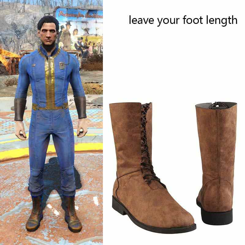 e38f4692e81 PS4 Game Fallout 4 Fallout 76 Cosplay Boots Vault 76 Sole Survivor Deacon  Shoes Props Halloween Costume Falt Boots Custom Made