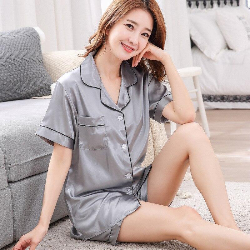 Sexy Summer Women Nightwear 2pc Shirt Pants Sleep   Pajamas     Sets   Sleepwear Faux Silk Silky Nightgown Casual Robe Clothes M - XXL