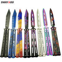 Swayboo colorful Stainless Steel Training folding pocket Knife butterfly in knife titanium practice tool no edge dull tool