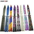 Swayboo kleurrijke Rvs Training folding pocket Knife vlinder in mes titanium praktijk tool geen rand dull tool