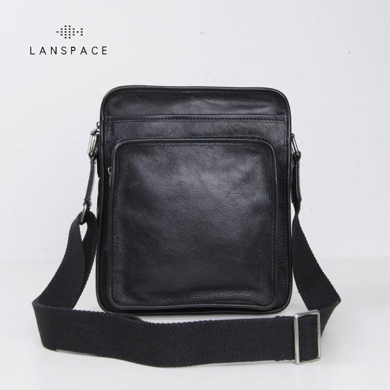 LANSPACE genuine leather men bag fashion crossbody bag brand shoulder bag
