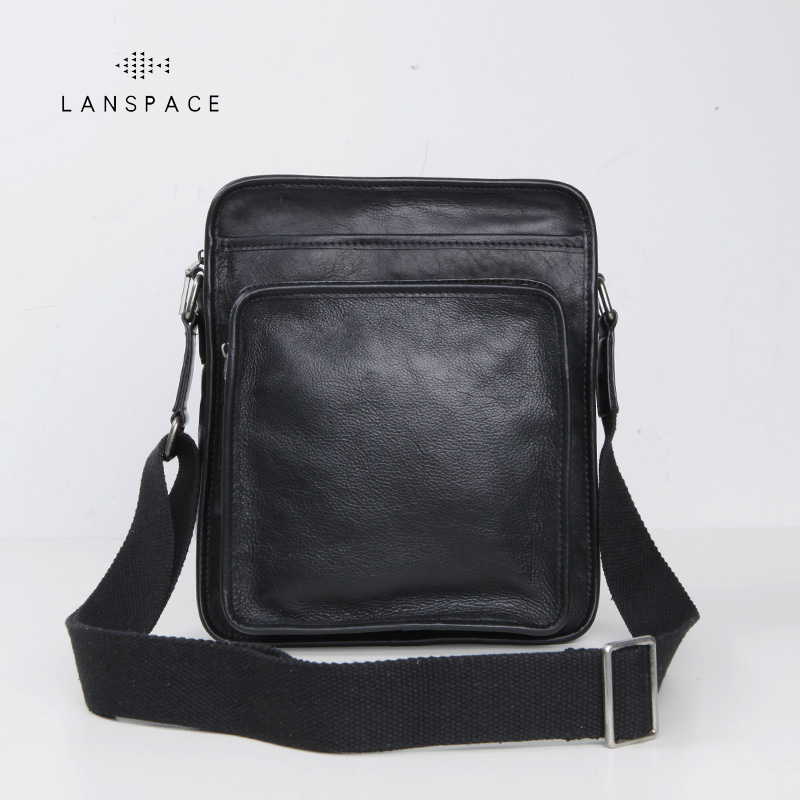 LANSPACE genuine leather men bag fashion crossbody bag brand shoulder bag lanspace men s leather shoulder bags leisure crossbody bag fashion leather men bag