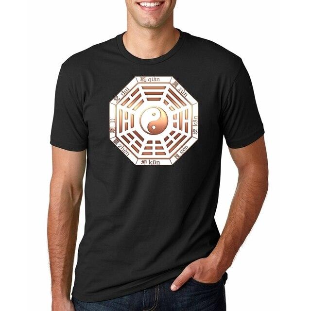 メンズヒップホップ Tシャツ中国の八卦占いプリント Tシャツストリート夏 Tシャツ半袖コットン Tシャツ