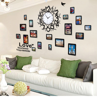 Nordic Modern Simple Geometric Wall Clock With Wall Sticker&Photo Frame Creative Decor Big Clock Wall Watch Living Room Wandklok
