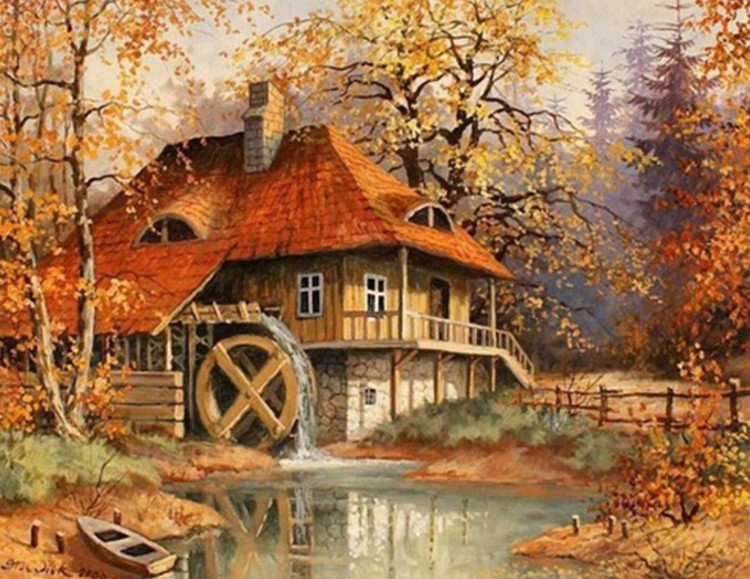 3d diamond painting Cross Stitch picture Diamond Embroidery landscape Autumnhouse river tree home decor moasic Round crystal