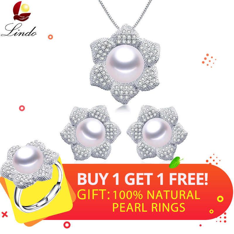 Buy 1 Get 1 Free !! Luxury Big 100% Natural Freshwater Pearl Jewelry Sets Zircon Silver 925 Flower Pendants+Earrings Wedding