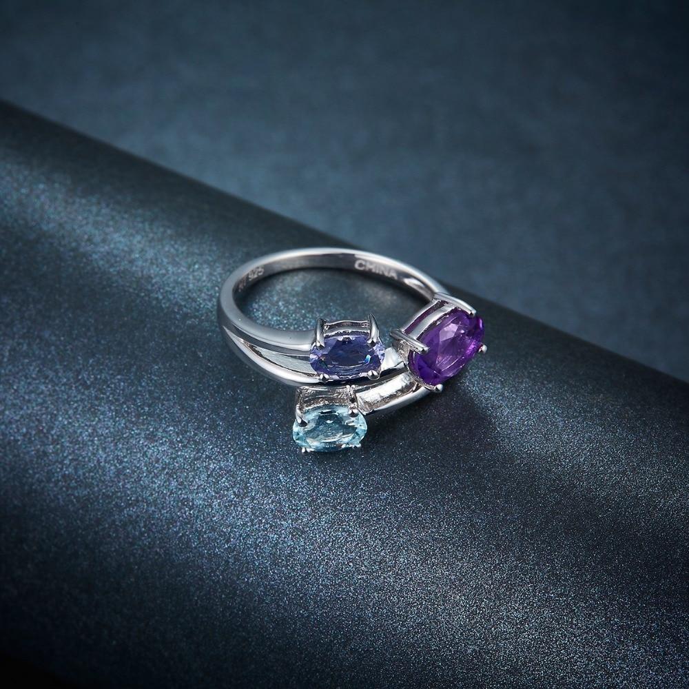 Hutang Aquamarin Ringe 925 Sterling Silber Natürliche Amethyst - Edlen Schmuck - Foto 4