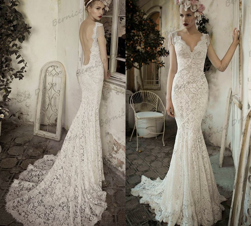 Vintage Style Lace Wedding Dresses: Vestido De Noiva Vintage Backless Wedding Dresses Hot V