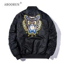 d713b78d4126 ABOORUN Men's Bomber Jacket Fashion Tiger Embroidery Jacket Hip Hop Baseball  Coat for Couples R13(