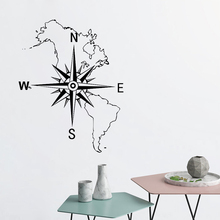 Bedroom Stickers Word Map of the Americas Compass Nautical Wall Decoration Vinyl Art Design Sticker Beauty Room Decor W180