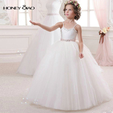 Honey Qiao  White Princess Flower Girl Dresses Ball Gown with Beads Beauty Little Kids Cheap Wedding party dress First Communion