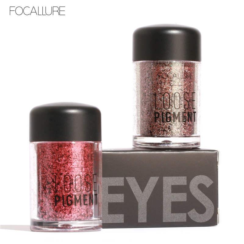 FOCALLURE 2018 Makeup Loose Pigment Shadows Eye Mineral Powder Gold Red Metallic Focallure Loose Glitter Eyeshadow Color