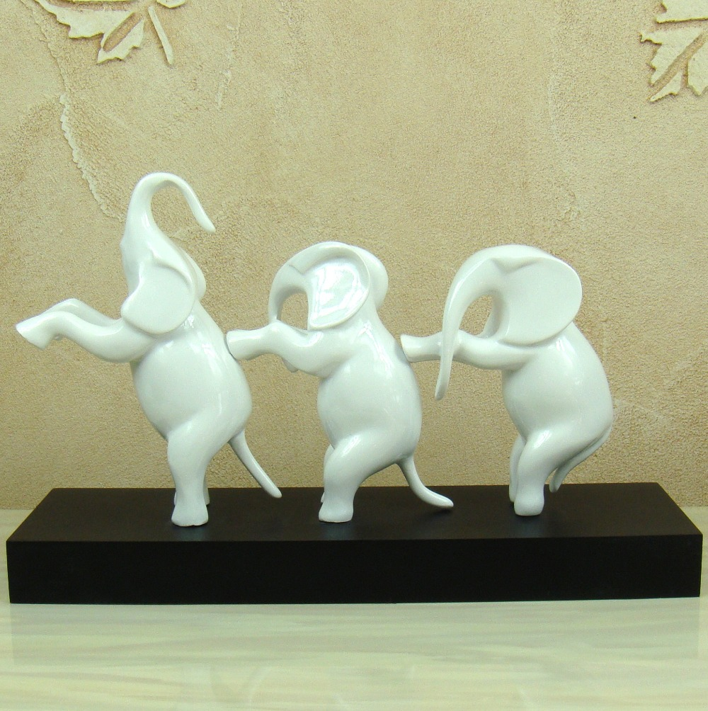 Lifestyle /(Set Of 2/) Couple Elephants   Two Colors Ceramic Decoration  Animals Figurine Porcelain Sculptures Statues Crafts Wedding Gifts  Christmas Gift ...