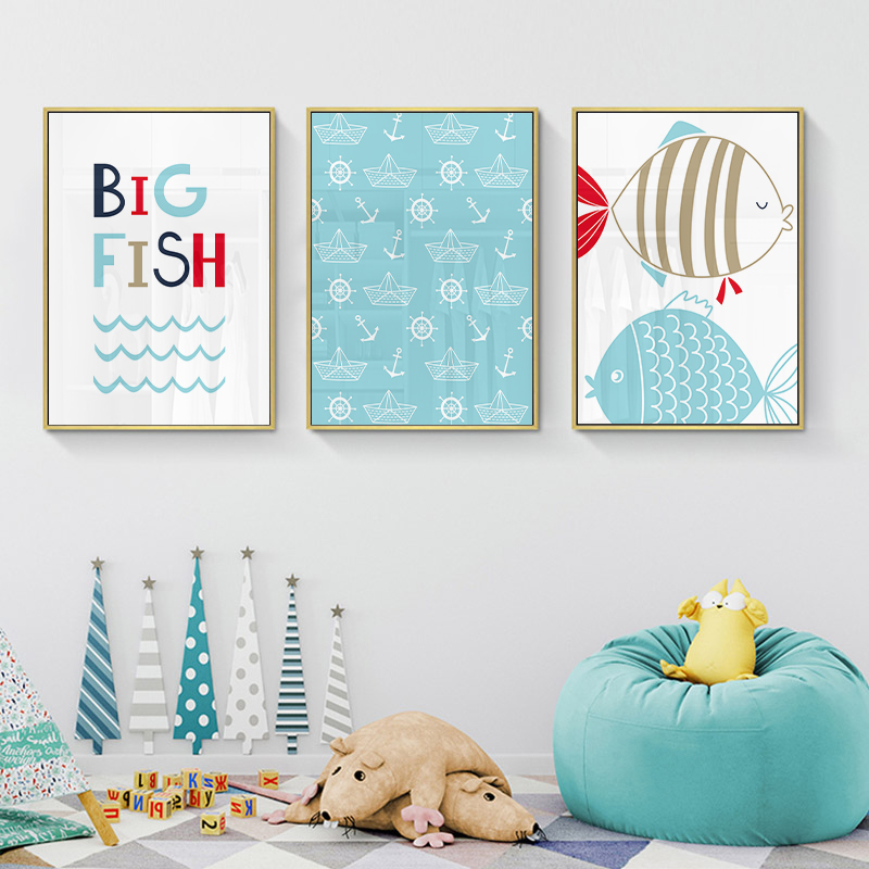 Fantastic Ocean World Baby Animal Fish Anchor Wall Art Canvas Painting Nursery Nordic Poster And Print Decorative Picture Kids Room Decor Evergreenethics Interior Chair Design Evergreenethicsorg