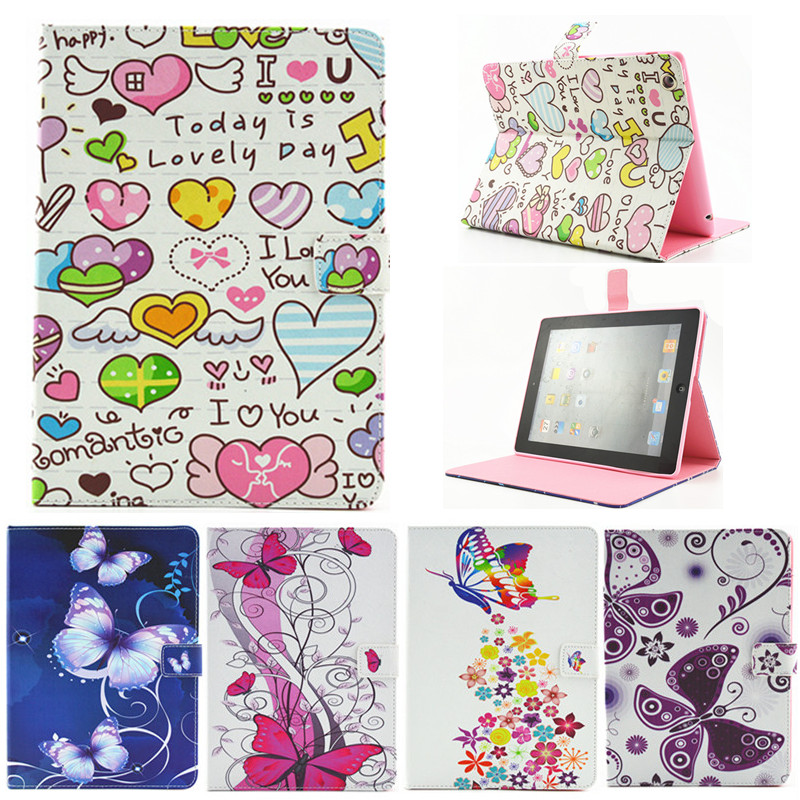 For Ipad 2 3 4 Butterfly Flower Flip PU Leather Case For Apple iPad2 Ipad3 Ipad4 Case Stand Protector Skin Tablet Cover Fundas magnetic stand flip pu leather case cover for ipad 2 3 4 tablet fundas cases for ipad 4 ipad 3 ipad 2 screen protector stylus