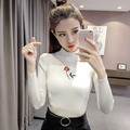 2017 Spring Autumn Women turtleneck sweater pullover slim long-sleeve basic shirt female sweaterTops all-match White Black Color