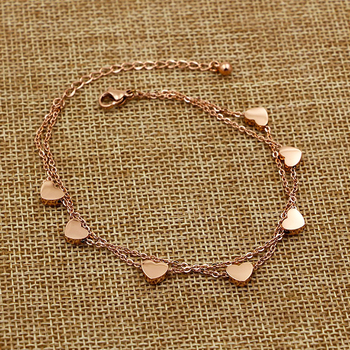 Super Lovely Seven Hearts Rose Gold Double Chain Anklet Titanium Steel Anti Allergic Anklet Jewelry Woman Kid Best Gift 2