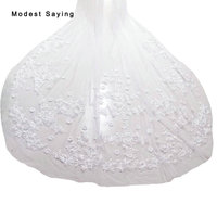 White Luxury 2 Layers 3.5 meters 70cm Lace Cathedral Wedding Veils 2017 Long Crystal Flowers Bridal Veils Wedding Accessories V9