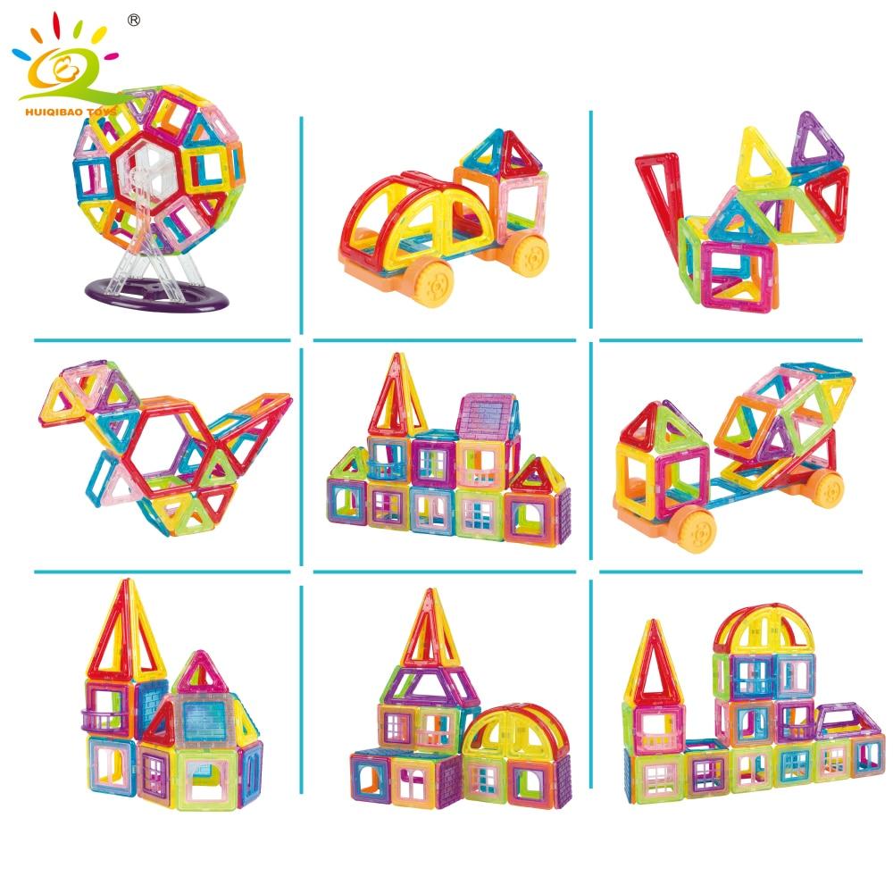 128 шт. мини Магнитная колесо обозрения дизайнер строительные блоки комплект DIY 3D Пластик конструктор магнит кирпичи развивающие игрушки для...