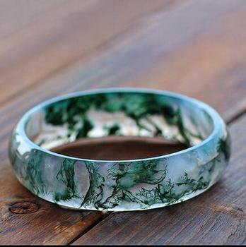 Natural  Chalcedony  3D Carved  plant   Bangles Women   Amulet Nephrite Jades Jewelry
