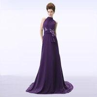 ADLN High Collar Chiffon Purple Evening Dresses Long Vestidos De Festa Custom Made Party Gown Robe