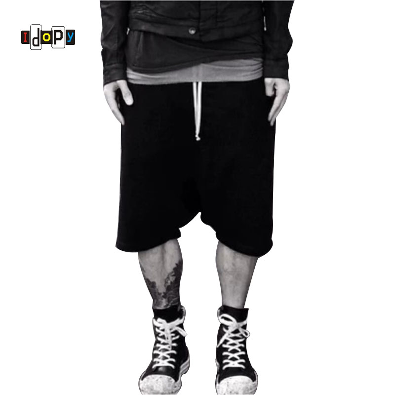 Highstreet Summer Mens Drop Crotch Shorts Baggy Loose Drawstring Hip Hop Black Urban Clothes Joggers Harem Shorts For Male