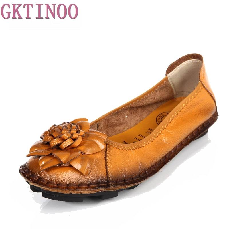 2017 spring flat shoes genuine leather handmade flower women s leather casual shoes quinquagenarian women s