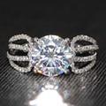 Luxury 3 Carat ct Moissanite Laboratorio Crecido anillo de Compromiso de La Boda de Color F Anillo de diamantes Con Acentos de Diamante Real 14 K 585 Oro Blanco Real