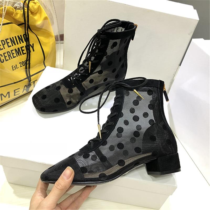 Talons Liée Ronde Noir Milieu Piste Mesh Dot Sapato Chaussures Feminina D'été Cheville Croix Courtes Femmes Air Black Bottes Sandales Pour 07xYPS7qw