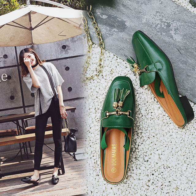 Plus size woman mules shoes 40 41 42 big size sandals tassel chains metal buckle design slippers square toe back strap mules