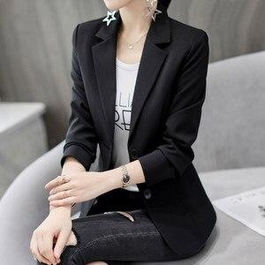 2019 nouvelle mode femmes costume mince Blazer manteau femme à manches longues vestes grande taille blanc et noir Blazers solide vêtements de travail S-XXL