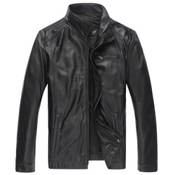 Genuine leather jackets men black thin real sheepskin leather jacket men s stand collar slim leather.jpg 250x250