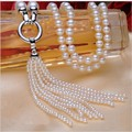 Luxury style AAA Perfectly Freshwater Pearl Long Necklace Nearl Round Real Pearl necklace Wedding Jewelry Tassel Necklace