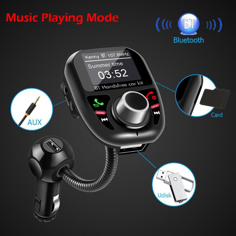 LCD Screen FM Transmitter Wireless Bluetooth Handsfree Car Kit 360 rotatable Car MP3 Audio with 5V 3.1A Dual USB Charge Auto