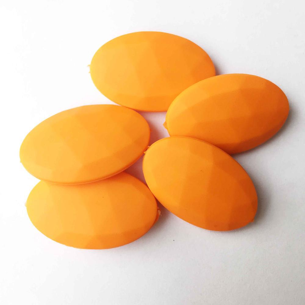 50 шт./лот плоские овальные свободные силиконовые Бусины для прорезывания зубов Цепочки и ожерелья силиконовые свободные Бусины для маленьких прорезыватель BPA бесплатно 19 цвет - Цвет: Orange