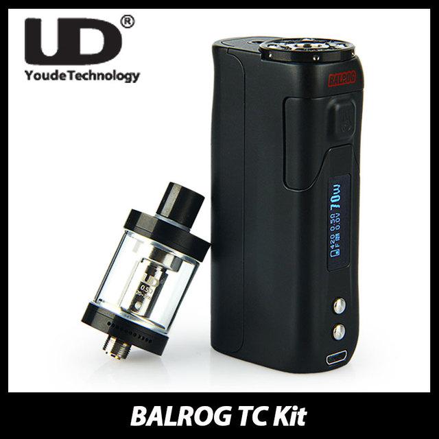 100% autêntico ud balrog 70 w tc kit start temp control box BALROG Mod Vaporizador 3 ml Tanque Atomizador W/O Da Bateria E Cigarro Kit