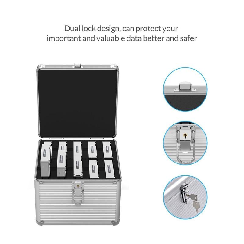 ORICO Aluminium 5 & 10 baies 3.5 pouces Disque Dur boîte de protection De Stockage avec Verrouillage (non compris DISQUE DUR) -argent - 2
