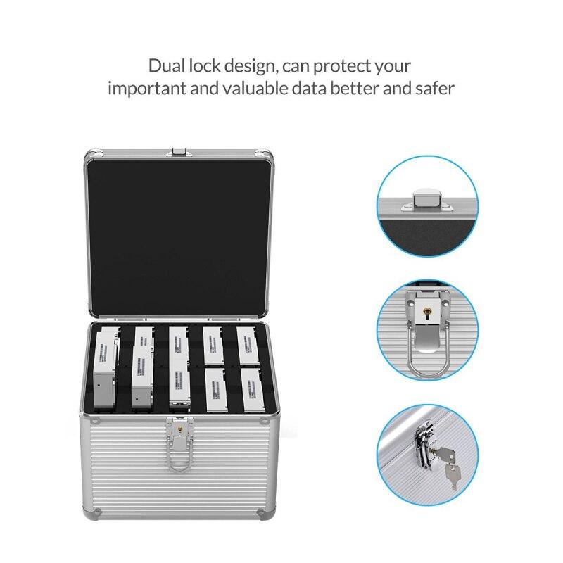 ORICO aluminium 5 & 10 baies 3.5 pouces disque dur Protection boîtier de rangement avec verrouillage (hors HDD)-argent - 2